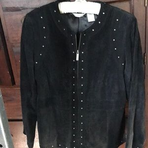 Laura Ashley suede jacket with stud accents
